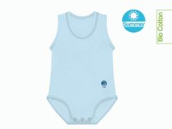 Body neonato estivo cotone biologico azzurro