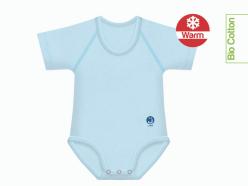 Body neonato caldo cotone bio tinta unita - Azzurro