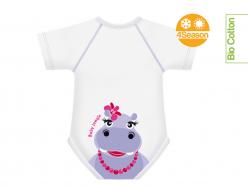 Body neonato cotone biologico - Ippopotamo